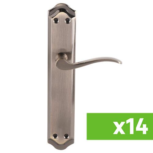 Lote 14 manillas para puertas de interior praga de aluminio en bronce