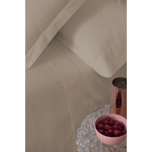 Sábana bajera algodón beige para cama 180 / 200 cm