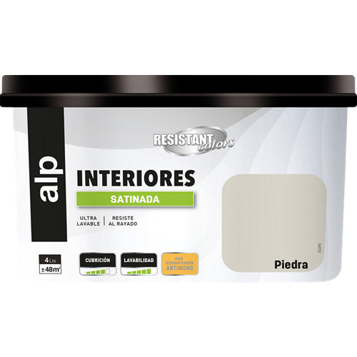 Pintura interior resistant satinada 4l piedra