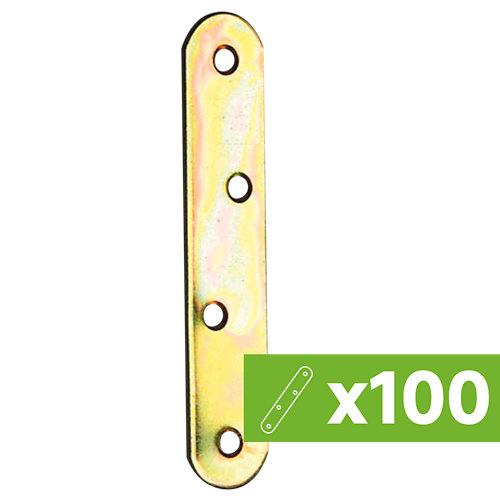 Lote 100 placas unión en acero bicromatado 120 mm