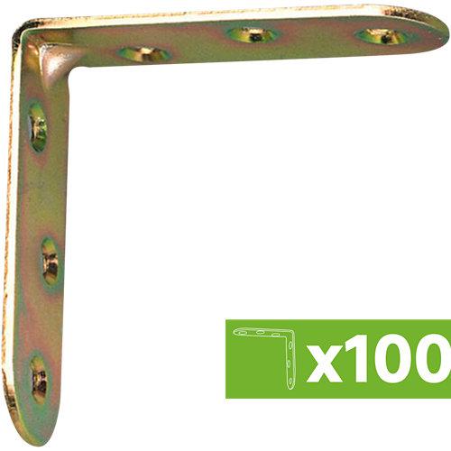 Lote 100 escuadras de unión en ángulo de acero bicromatado 40x40 mm