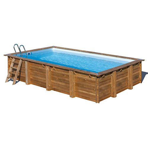 Piscina desmontable rectangular gre 620x420x133 cm liso marrón