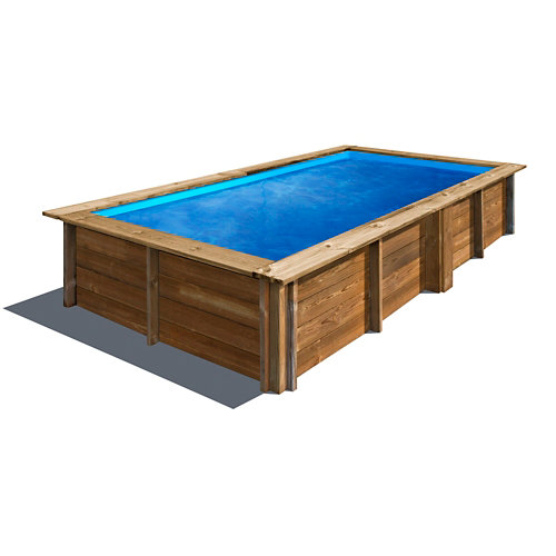 Piscina desmontable rectangular gre 375x200x68 cm liso marrón