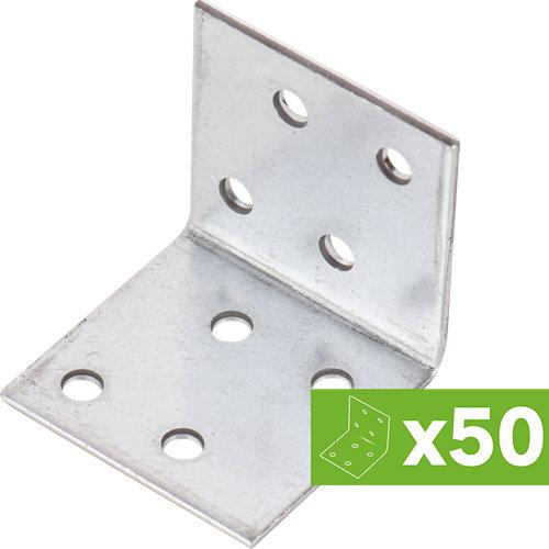 Lote 50 escuadras de ensamblaje 8 agujeros en acero galvanizado 40x40x2mm