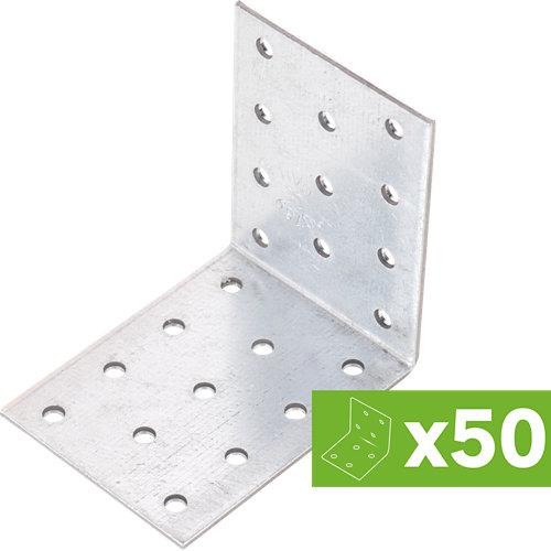 Lote 50 escuadras de ensamblaje multiagujero en acero galvanizado 80x60x2,5 mm
