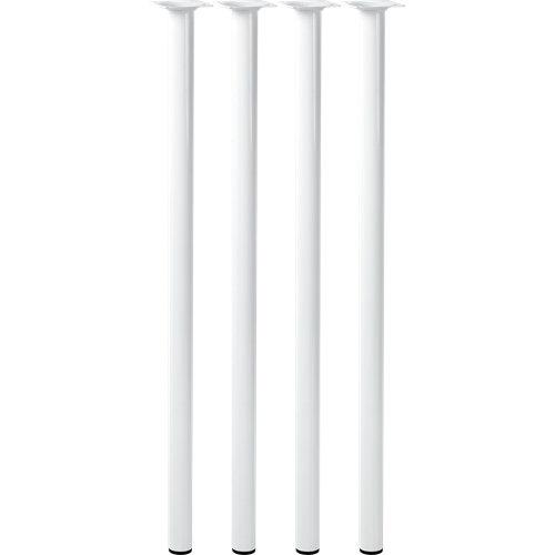 Lote 4 patas metálicas color blanco 700 x 30 mm