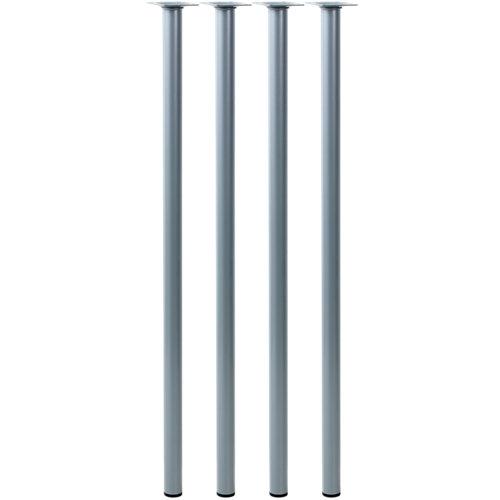 Lote 4 patas fijas de acero inoxidable para mesa de 80 cm