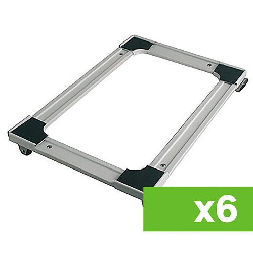 Lote 6 soportes rodantes extensibles de acero hasta 120 kgs