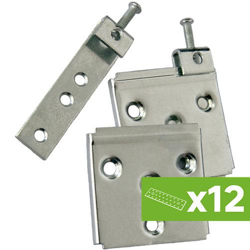 Lote 12 colgadores de armario de acero rectos graduables 5x8x0,5 cm