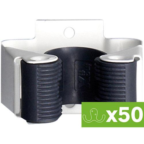 Lote 50 colgadores escobas adhesivos de acero 5,2x3,4x4 cm
