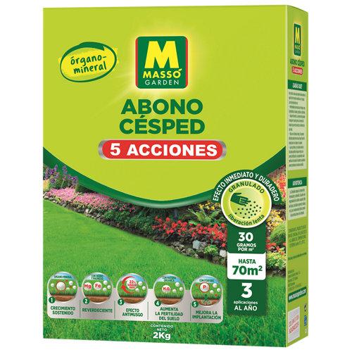 Abono para césped 5 acciones órgano-mineral con hierro y magnesio massó 2 kg