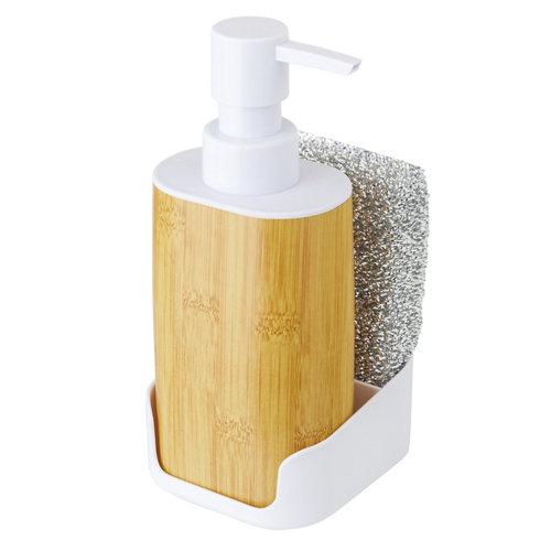 Set dosificador de jabon y esponja bamboo print blanco