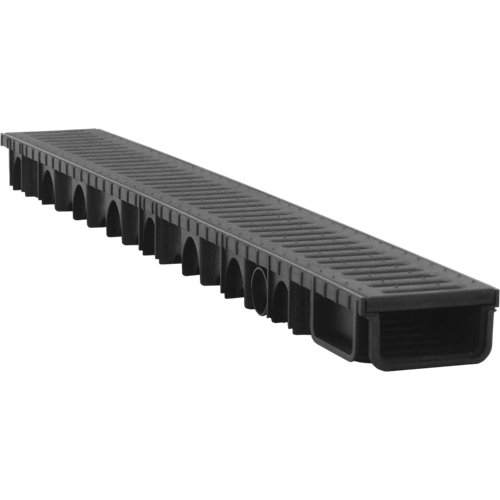 Kit con canal y reja de polipropileno negro 110x57x1000