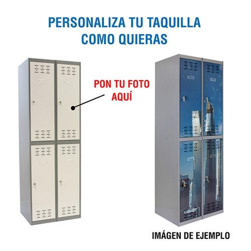 Taquilla 180x80x50 gris 2 cuerpos 4 puertas con foto