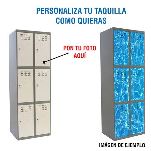 Taquilla 180x80x50 gris 2 cuerpos 6 puertas con foto