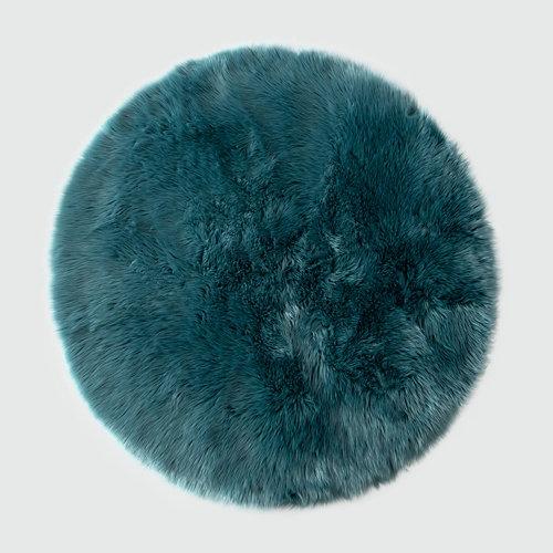 Alfombra acrílica circular pelo largo skin turquesa ø 140 cm