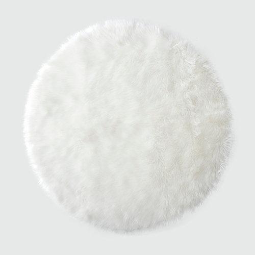 Alfombra acrílica circular pelo largo skin blanco ø 90 cm
