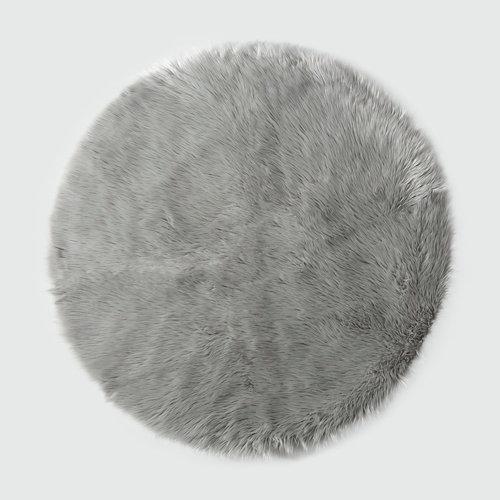 Alfombra acrílica circular pelo largo skin gris ø 90 cm