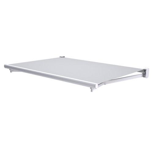 Toldo tarifa brazo extensible motorizado blanco y tela gris 6x3m