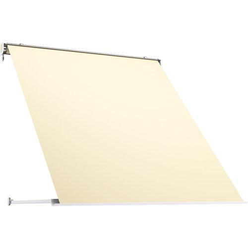 Toldo menorca brazo punto recto manual con cofre gris y tela beige 2x1m