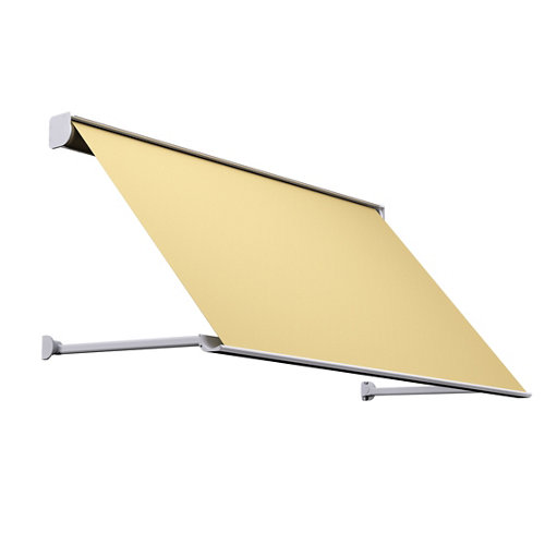 Comprar Toldo menorca brazo punto recto motorizado con cofre blanco y tela café 2x1m