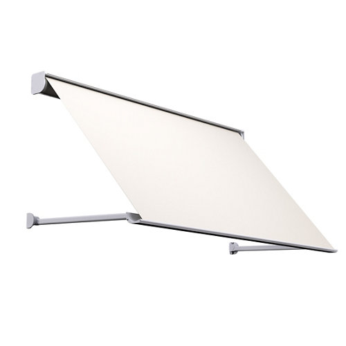 Comprar Toldo menorca brazo punto recto motorizado con cofre blanco y tela beige 5x1m