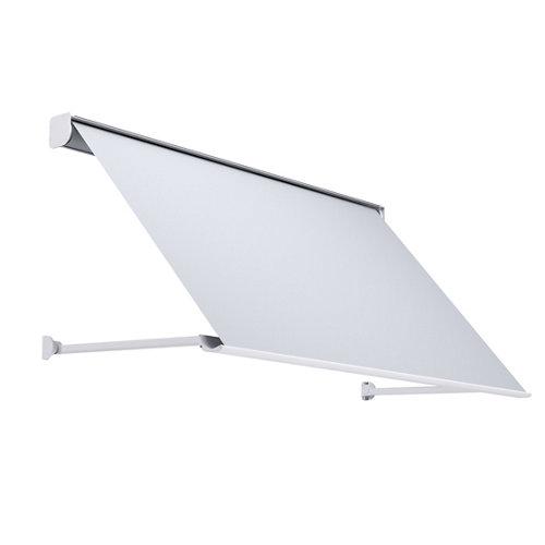 Comprar Toldo menorca brazo punto recto motorizado con cofre blanco y tela gris 5x1m