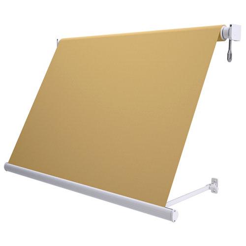Comprar Toldo sitges brazo estor manual color blanco con tela café de 3,5x2.5m