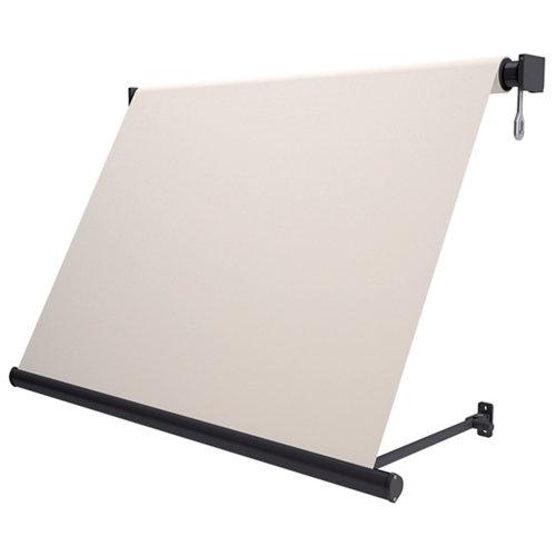 Toldo sitges brazo estor manual color gris con tela beige de 3,5x2.5m