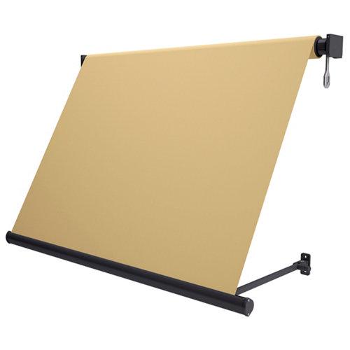 Comprar Toldo sitges brazo estor manual color gris con tela café de 4,5x2.5m