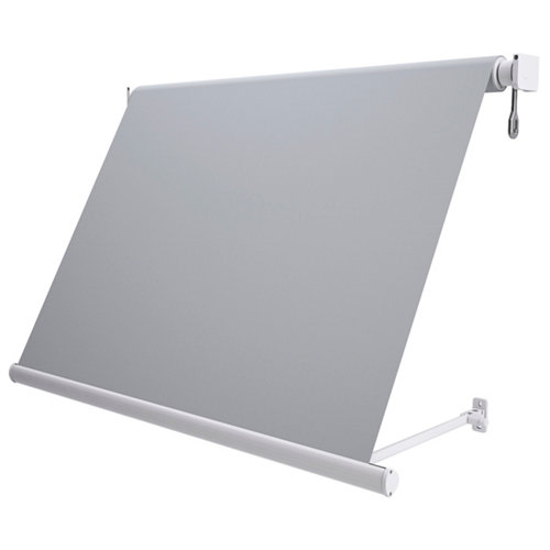 Comprar Toldo sitges brazo estor manual color blanco con tela gris de 3,5x2.5m