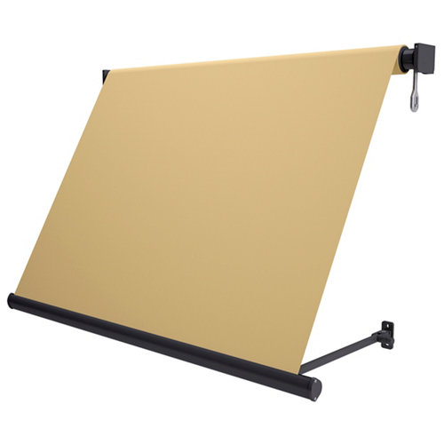 Comprar Toldo sitges brazo estor manual color gris con tela café de 5x2.5m