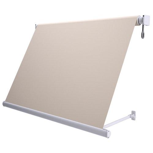 Toldo sitges brazo estor motorizado color blanco con tela beige de 2x2.5m