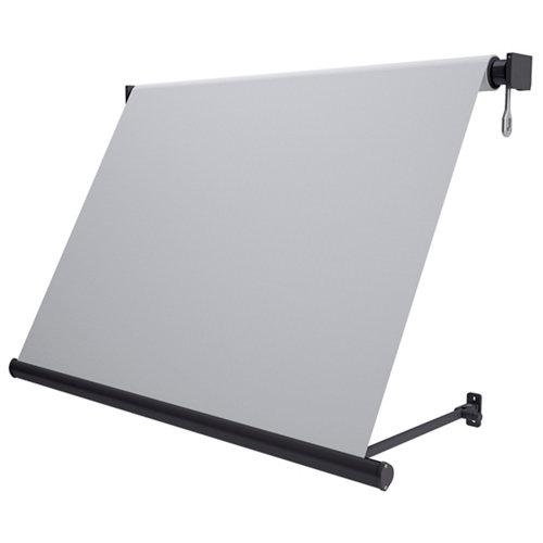 Toldo sitges brazo estor motorizado color gris con tela gris de 4x2.5m