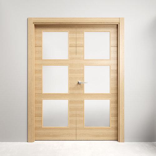 Puerta doble acristalada berna roble miel 130x125(62+62)cm i