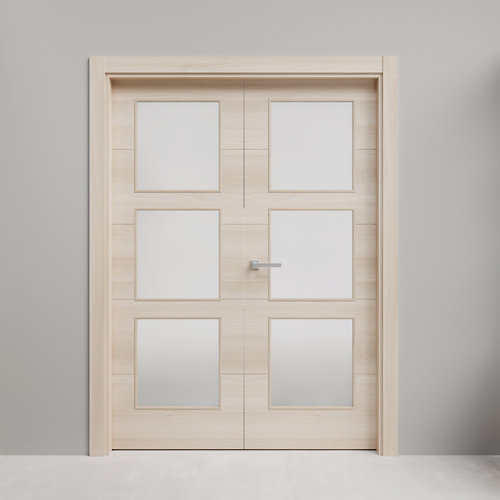 Puerta acristalada doble berna acacia 130x125 i (62+62) cm