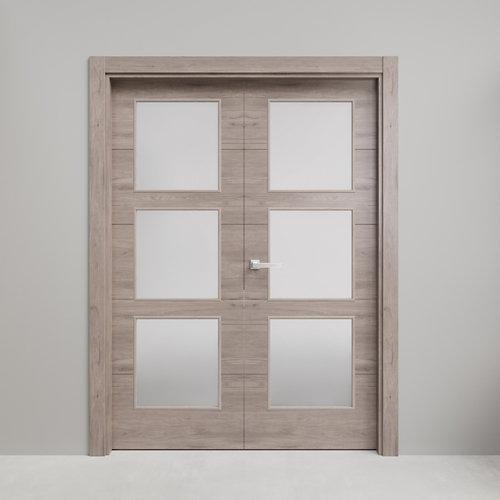 Puerta doble con cristal berna roble gris 110x105(62+42)cm i