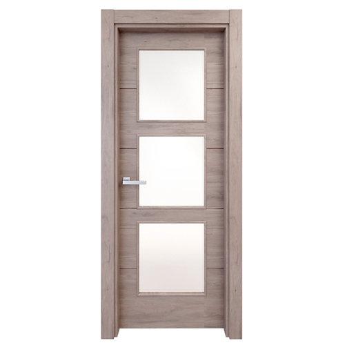 Puerta acristalada berna roble gris 130x62,5 cm i