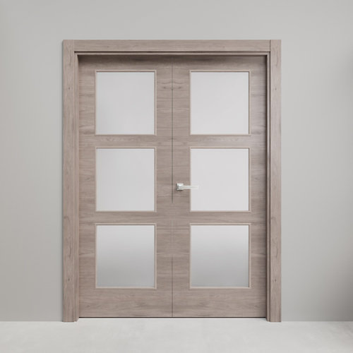 Puerta doble con cristal oslo roble gris 110x145 i (72+72)cm