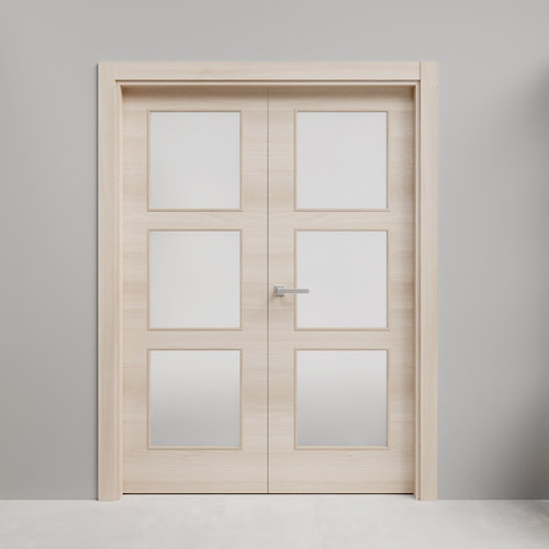 Puerta doble acristalada oslo acacia 110x145 i (72+72) cm