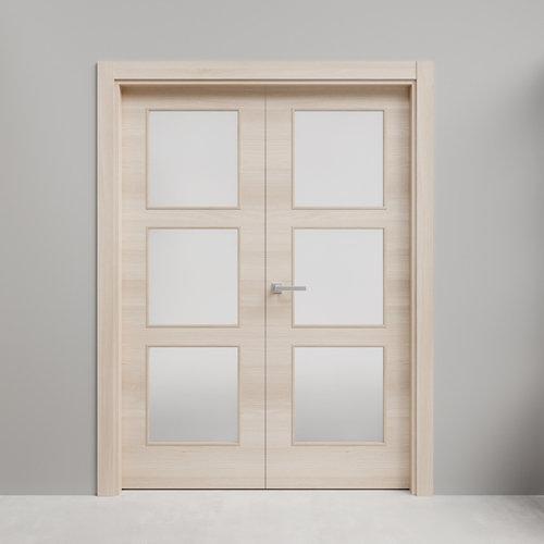 Puerta doble acristalada oslo acacia 130x115 d (72+42) cm