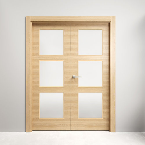 Puerta doble con cristal oslo roble miel 130x145 d (72+72)cm