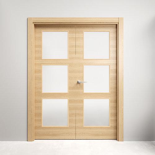 Puerta doble con cristal oslo roble miel 130x125 d (62+62)cm