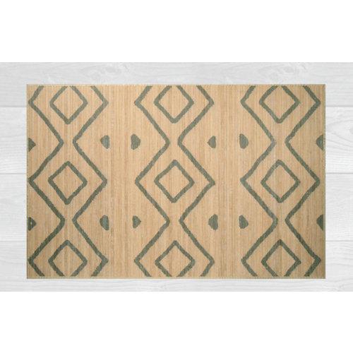 Alfombra de interior beige bambú kenia rombos 120 x 180cm