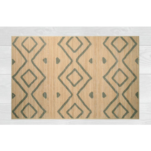 Alfombra de interior beige bambú kenia rombos 160 x 230cm