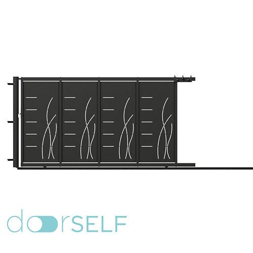 Puerta corredera+peatonal lines&rushes gris forja 350x200 cm