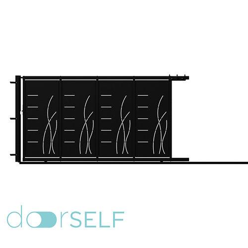Puerta corredera+peatonal lines&rushes negra 400x200 cm