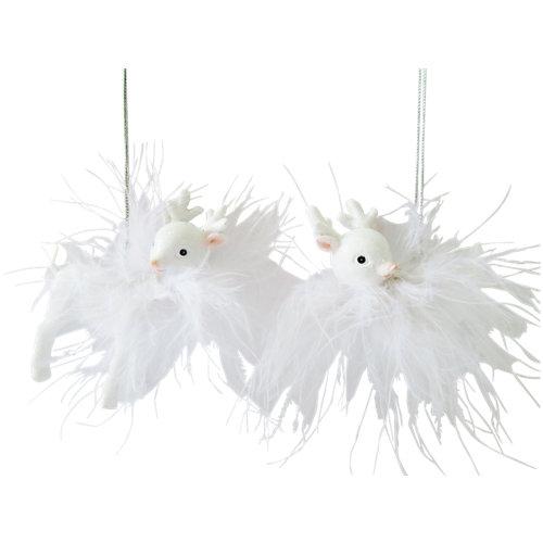 Set de 2 colgantes renos 7,5 cm blanco