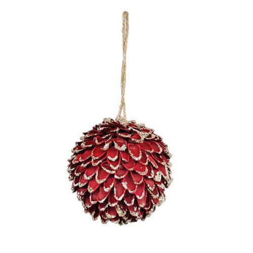 Adorno colgante piña 8,5 cm rojo
