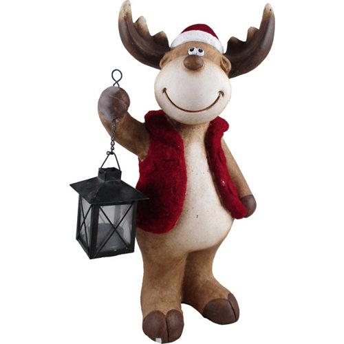 Figura navideña reno linterna 40 cm